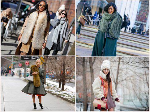 Chi ha sfidato il freddo ha scelto solo qualche accessorio caldo- fonte: style.com, vogue.it, elle.com, grazia.it