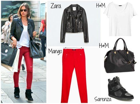 Irina Shayk - Pantaloni rossi e chiodo in pelle