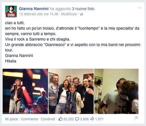 La dichiarazione di Gianna Nannini su Facebook