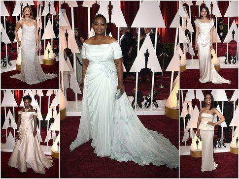 Perché tutte vestite da sposa sul Red Carpet? Che abbiano sbagliato cerimonia? - fonte: vanityfair.com