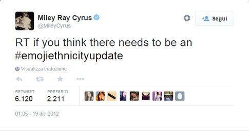 Anche Miley Cyrus voleva le emoji multi etniche!