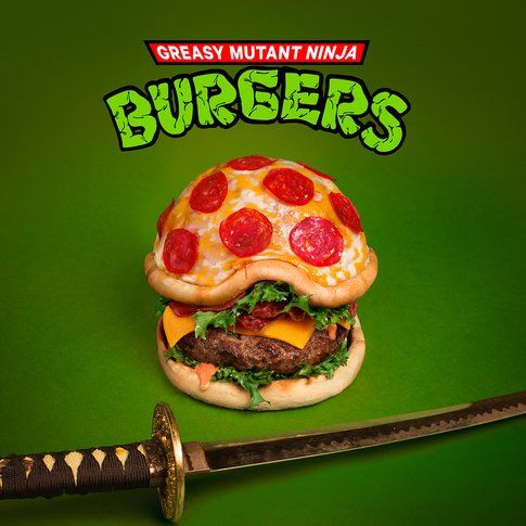 Hamburger Pizza Mutant Ninja