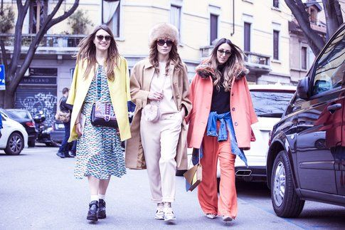 Carlotta Rubaltelli di Styleandtrouble.com, Elisa Bersani e Elisa Taviti in uno scatto di street style - Fonte: Federico Avanzin