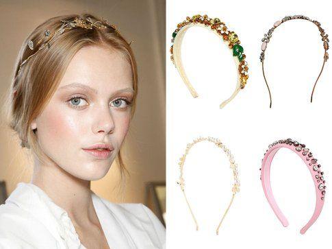 In alto i cerchietti di Dolce&Gabbana e Accessorize - In basso i cerchietti di Asos e Red Valentino