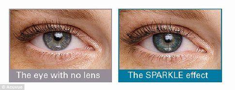 Le lenti sugli occhi chiari hanno un effetto brillante