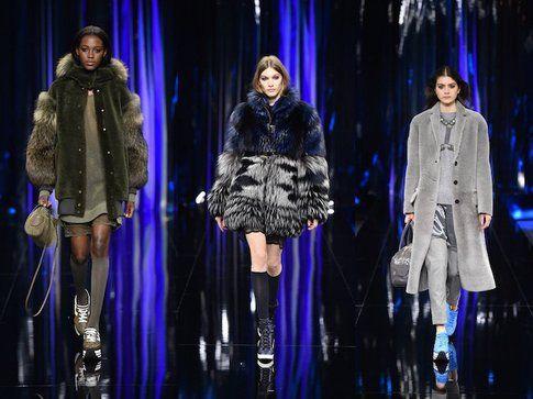 Tre look rappresentativi della collezione di Hogan per il prossimo A/I: giacche militari e pellicce