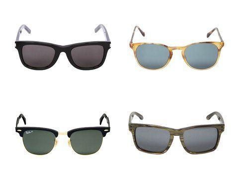 In alto: gli occhiali di Saint Laurent e Oliver Peoples - In basso: gli occhiali di Ray Ban e Oakley