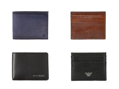 In alto i portafogli di Massimo Dutti e The Bridge - In basso: i portafogli di Diesel e Armani