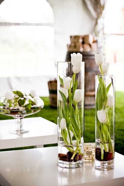 Tulipani e sassi decorativi