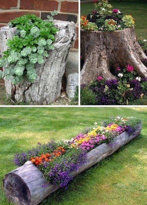 Fioriere con i tronchi d'albero - Pinterest