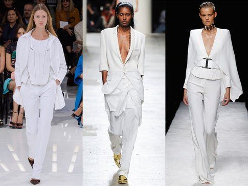 Glacial Grey che diventa un Total White nei look visti in passerella da Balmain a  Saint Laurent - fonte: elle.it