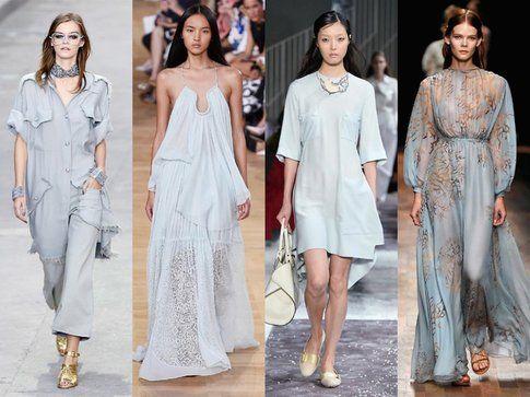 Un tripudio di abiti acquamarina visti in passerella (Chanel,Tods, Valentino e Chloe)- fonte: elle.it
