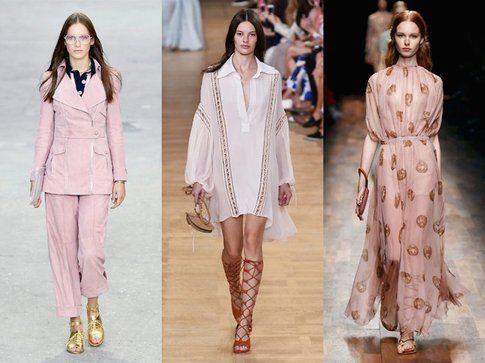 Chanel, Valentino e Chloe propongono un rosa tenue perfettamente in linea con lo Strawberry Ice segnalato da Pantone- fonte: ell