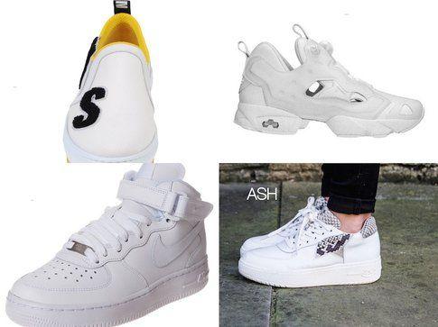 Sneakers bianche proposte da MSGM, Rebook, Nike e ASH