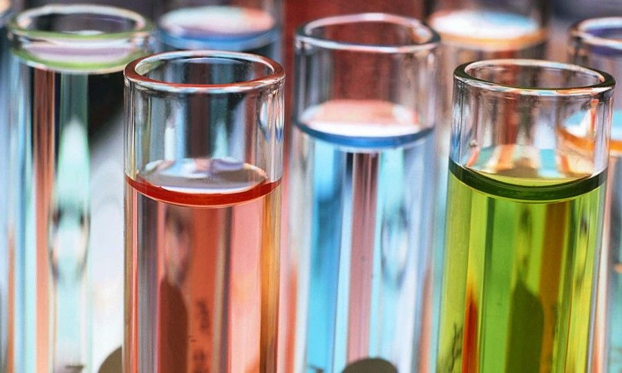 Test Tubes of Colored Liquid