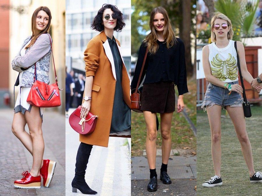 Borse a tracolla di tutti i tipi nelle foto street style di quest'anno.