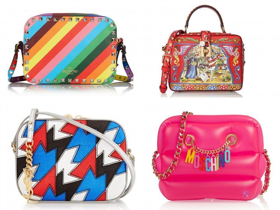 Tracolle coloratissime e con fantasie pop di Ysl, Valentino, D&G e Moschino