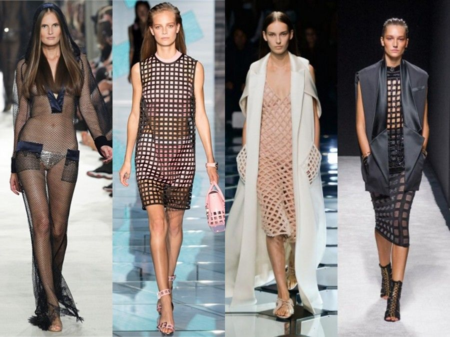 Qualche look caratterizzato dalla presenza della rete di Alexis Mabille, Versace e Balenciaga