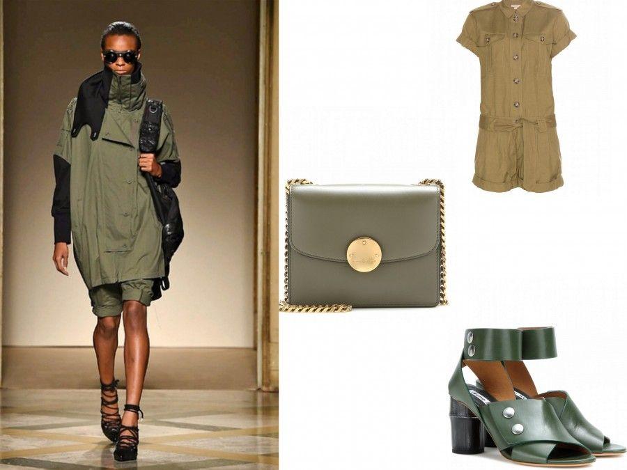 Look militare di Nicholas K e accessori di Burberry, Marc Jacbos e Acne Studio