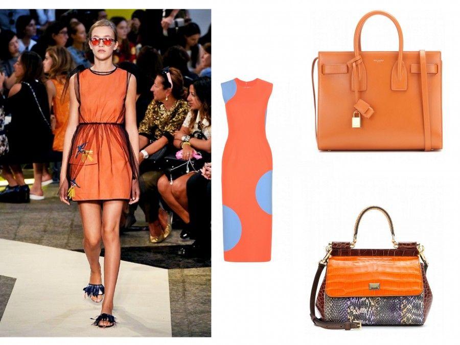 Look Tangerine di MSGM, accessori di Saint Laurent, Dolce e Gabbana e Rocksanda