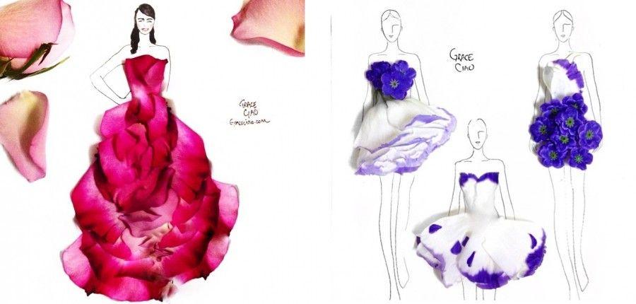 Abiti 3D con petali di fiori