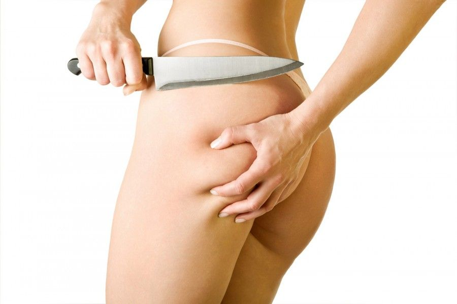 girl cut off her cellulite