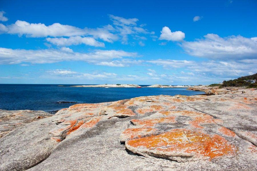 Le rocce arancioni, il panorama costiero della Tasmania