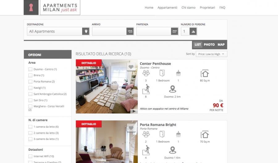 gli appartamenti su Apartments Milano