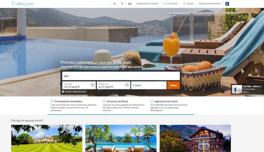 L'homepage di villas