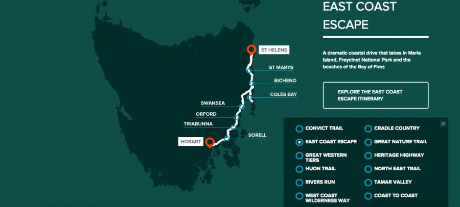 La costa est della Tasmania