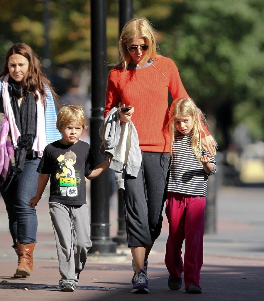 Gwyneth Paltrow and kids at a playground in New York