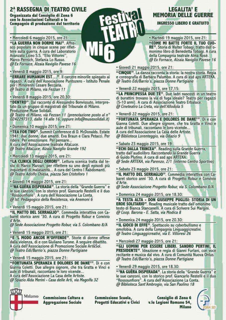 Programma di Mi6Teatro 2015