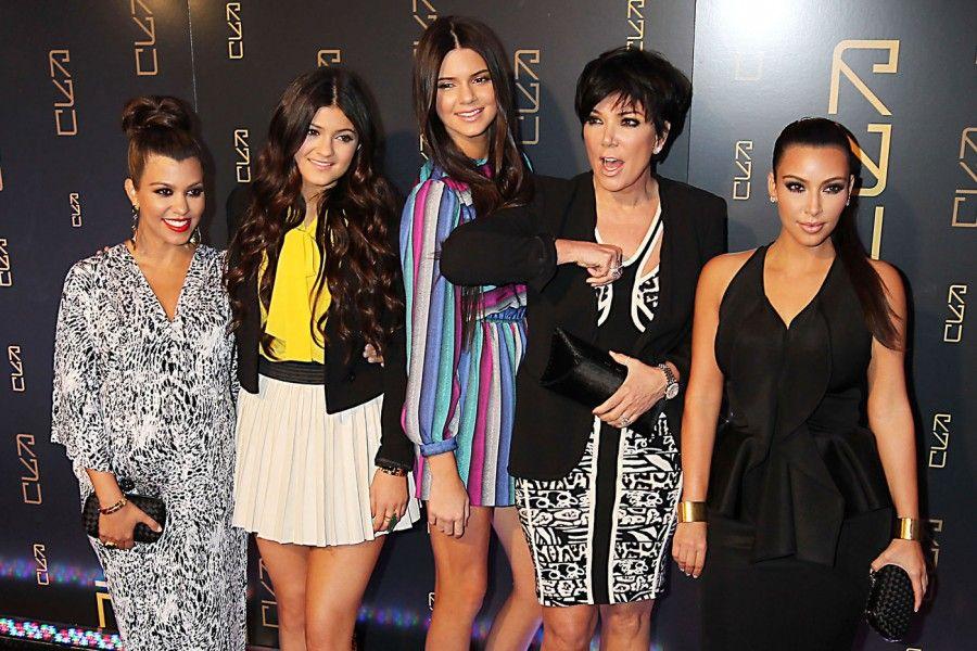 A KARDASHIAN FAMILY AFFAIR:  Kim and Kourtney Kardashian with Kendall, Kylie, and Kris Jenner