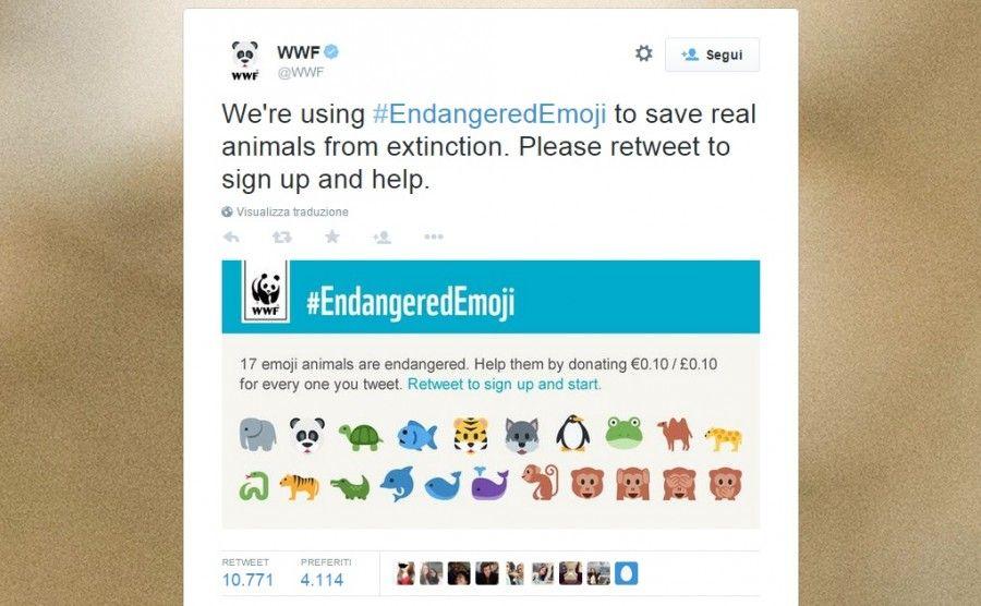 Il tweet del Wwf #EndangeredEmoji