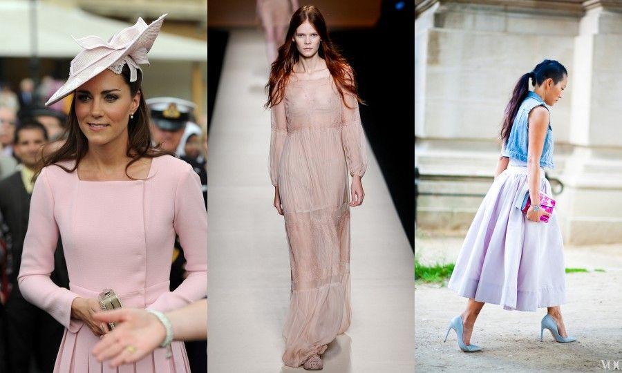 Un look rosa cipria di Kate Middleton, un look dalla sfilata di Alberta Ferretti e uno scatto catturato da Vogue.com durante l'ultima PFW