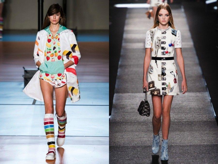 Au Jour Le Jour propone abiti con stampe di sushi e frutta, mentre Louis Vuitton ricama il mini dress con i trucchi disegnati