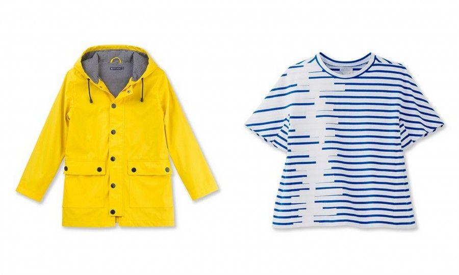 Impermeabile giallo e l'iconica marinière rivisitata da Kenta Matsushige con un taglio che inneggia al giappone e dai colori estivi, tutto Petit Bateau