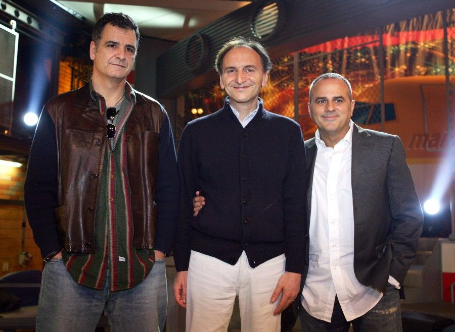 """MILANO, 23/02/2009 PRESENTAZIONE ALLA STAMPA DEL PROGRAMMA TV """"MAI DIRE GRANDE FRATELLO SHOW"""". NELLA FOTO : GIORGIO GHERARDUCCI, CARLO TARANTO E MARCO SANTI (LA GIALAPPA'S BAND) FOTO KOBE/INFOPHOTO"""