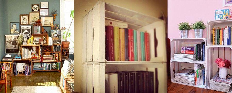 Arredare con le cassette della frutta bigodino for Piccole librerie in legno