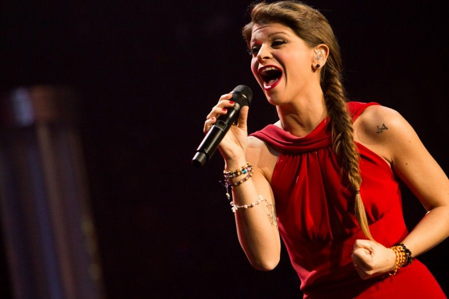 Alessandra Amoroso performs live at the Palalottomatica in Rome her Amore Puro live tour