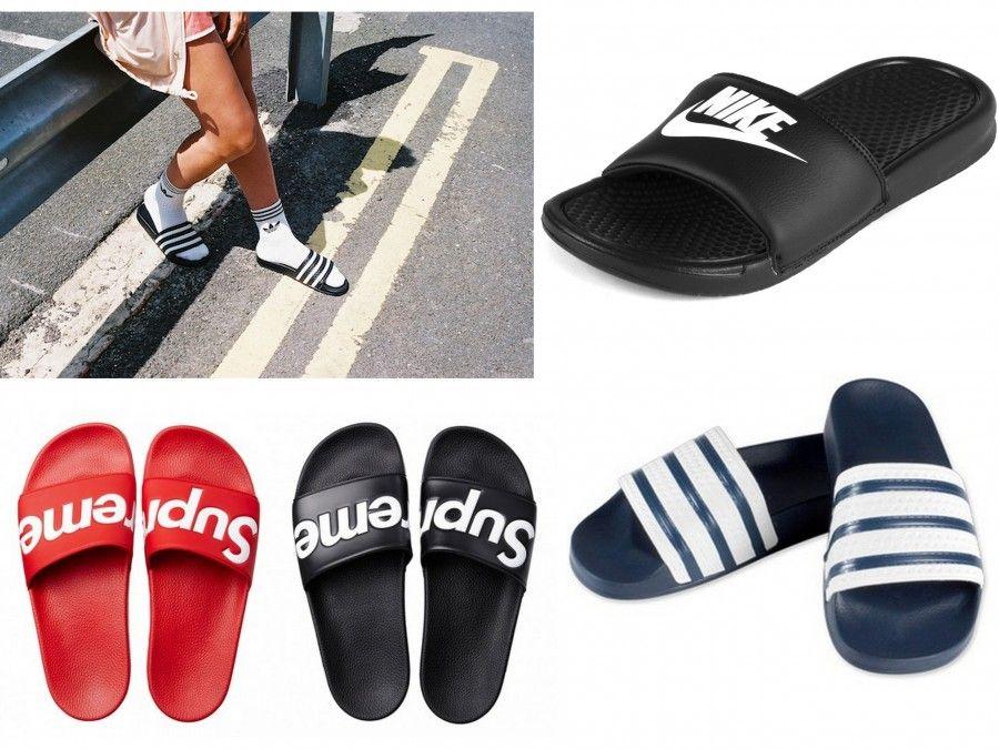 """I modelli più cool per quanto riguarda il trend """"pool shoes"""" sono di Nike e Adidas"""