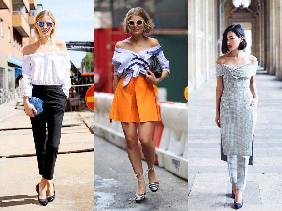 Diversi abbinamenti street style per i top con le spalle scoperte, perfetti sia per il giorno che per la sera