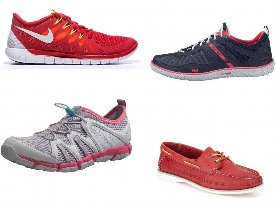 """Scarpe tecniche da barca di HH e Musto (Mocassini rossi), le Nike Free Run di Nike sono invece perfette per la vela perchè hanno la suola bianca e lasciano traspirare il piede anche in caso di """"allagamento"""""""