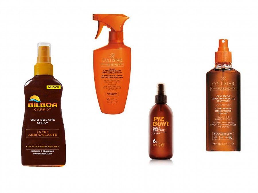 Olio Spray di Bilboa, Acqua abbronzante di Collistar, Olio Spray di Piz Buin e Olio Superabbronzante di Collistar