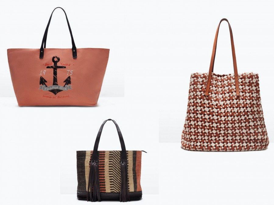 Borse da Mare: le proposte di Zara (tessuto traforato 39.99€, shopper ancora 19,99€, shopper tessuto/frange 49,99€)