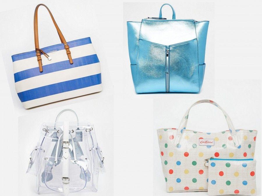 331a0cffb3 Borse da mare coloratissime ( Shopping Bag Fiorelli a righe 56€, zainetto  New Look