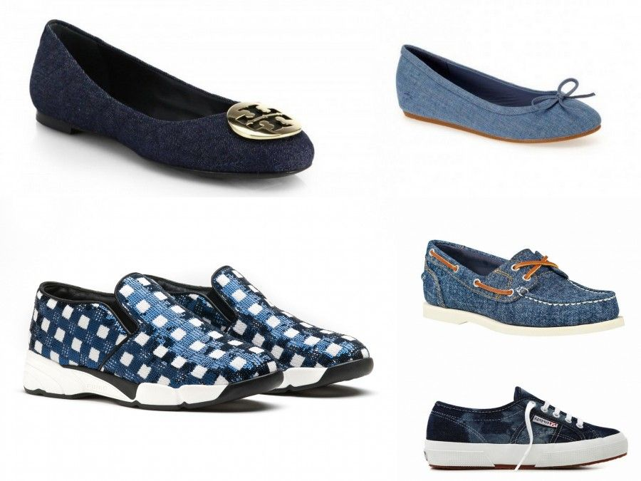 Ballerine e Sneakers in tessuto Denim o Simil Denim: Tory Brunch, Lacoste, Pinko, Timberland, Superga