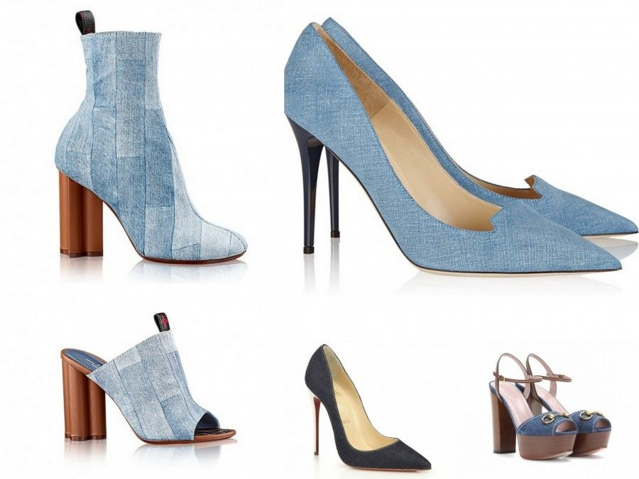 Scarpe con tessuto denim per Louis Vuitton (stivaletti e sabot), Louboutin (decollete) e Gucci (sandali)