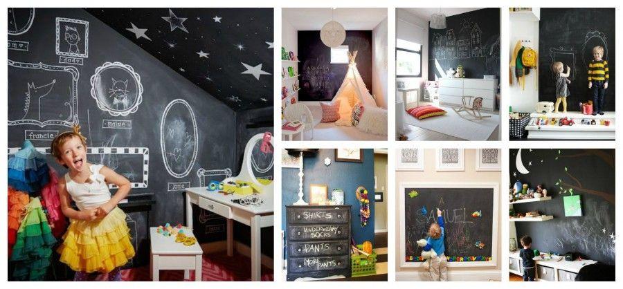Come decorare le pareti con la vernice lavagna bigodino - Decorare camera bambini ...