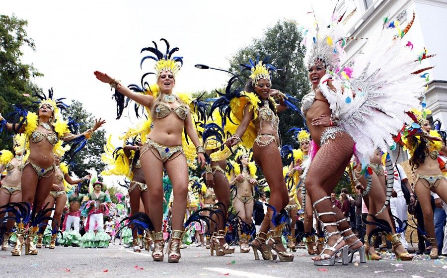 Entertainers taking part in a parade at the Notting Hill carnival.